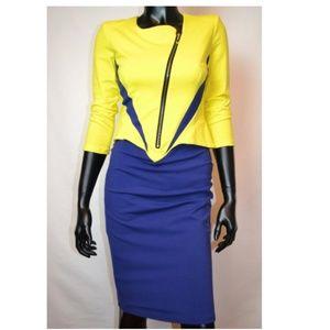 Blue & Yellow Zip Bodycon Dress